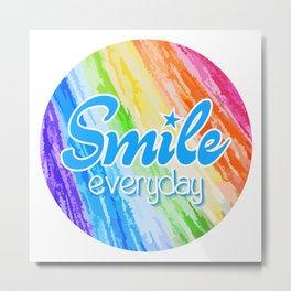Smile Everyday, Happy sticker, Cute sticker, crayon colors, blue version Metal Print