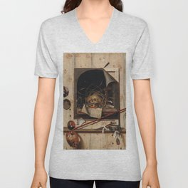 Trompe l'oeil (Deception of the Eye) With Studio Wall and Vanitas Still Life  Unisex V-Neck