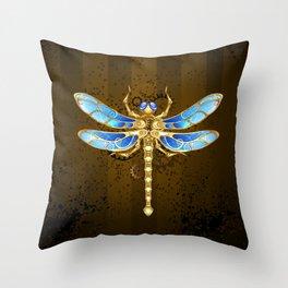 Mechanical Dragonfly ( Steampunk ) Throw Pillow