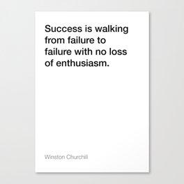 Winston Churchill quote about success [White Edition] Canvas Print