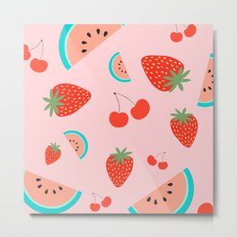 Fruit Salad (Pastel Pink) Metal Print