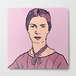 Emily Dickinson Portrait Pink Metal Print