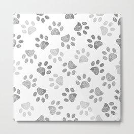 Black and grey paw print pattern Metal Print