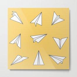 Paper Planes Pattern Print | Yellow Metal Print