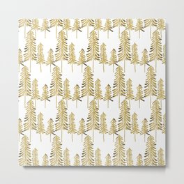 Pine Trees – Gold Palette Metal Print