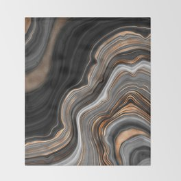Elegant black marble with gold and copper veins Throw Blanket