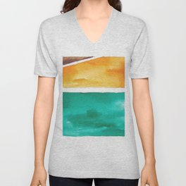 180811 Watercolor Block Swatches 7| Colorful Abstract |Geometrical Art Unisex V-Neck