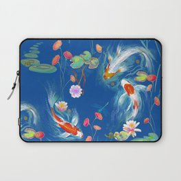 Blue Japanese Water Garden Laptop Sleeve