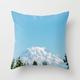 Snow Capped Mountain (Color) Throw Pillow