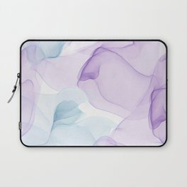 Purple Blush and Blue Flowing Abstract Painting Laptop Sleeve