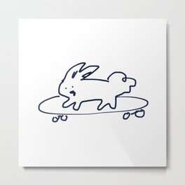 Skateboard Bunny RABBITS TALKING Metal Print