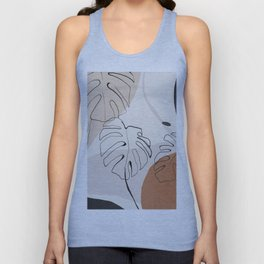 Minimal Abstract Art- Monstera Unisex Tank Top