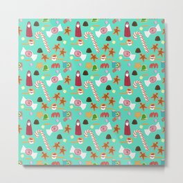 Christmas Sweeties Candies, Peppermints, Candy Canes and Chocolates on Aqua Metal Print