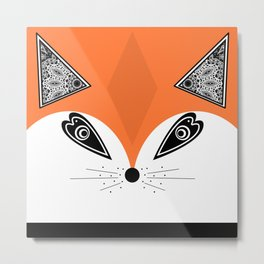 Patchwork Fox, applique Fox Metal Print
