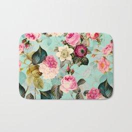 Vintage & Shabby Chic - Summer Teal Roses Flower Garden Bath Mat