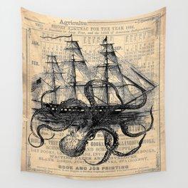 Octopus Kraken attacking Ship Antique Almanac Paper Wall Tapestry