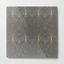 Art Deco in Gold & Grey Metal Print