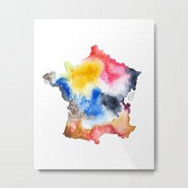 France Map Watercolor Painting Metal Print