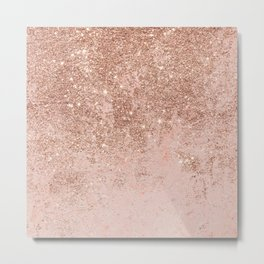 Girly blush coral faux rose gold glitter marble Metal Print