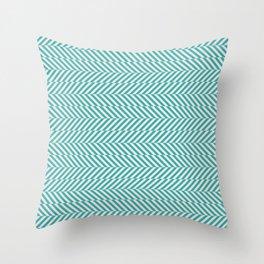 Teal Turquoise Aqua and Alabaster White Hypnotic Angled Stripe Pattern - Aquarium SW 6767 Throw Pillow