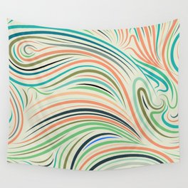 Multicolor abstract wavy lines pattern Wall Tapestry