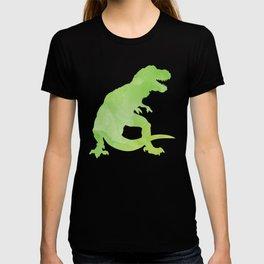 Watercolor Dinosaur Pattern White Green Blue T-shirt