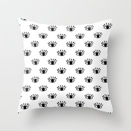 Graphic Black and White Eye Pattern Throw Pillow