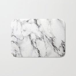 White Faux Marble Texture Bath Mat
