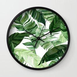 Green leaf watercolor pattern Wall Clock