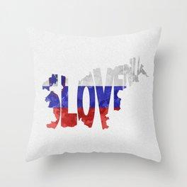 Slovenija / Slovenia Typographic Flag / Map Art Throw Pillow