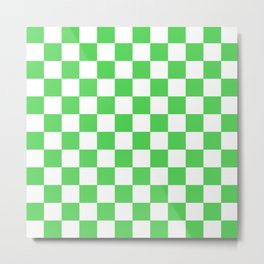 Checkered (Green & White Pattern) Metal Print