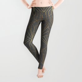 Art Deco in Gold & Grey - Large Scale Leggings