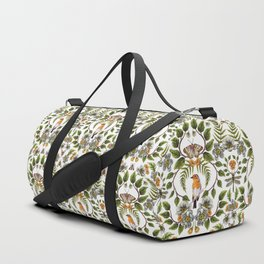 Spring Reflection - Floral/Botanical Pattern w/ Birds, Moths, Dragonflies & Flowers Duffle Bag
