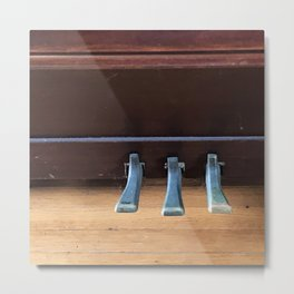 Piano Pedals on Antique Piano Metal Print