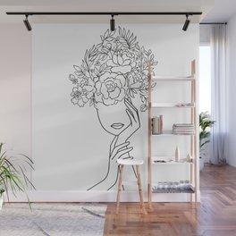 Pensive Woman With Flower Head Minimal Line Art #Society6 #Buyart Wall Mural