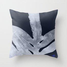 Green Fern Silver Black Throw Pillow