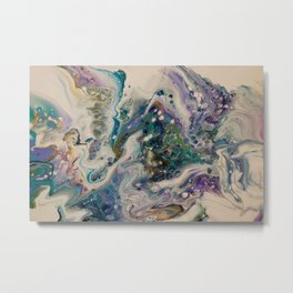 Peacock Flock - Abstract Acrylic Art by Fluid Nature Metal Print