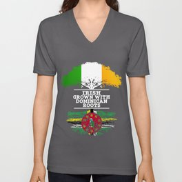 Irish Grown With Dominican Roots Unisex V-Neck
