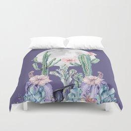 Desert Cactus Full Moon Succulent Garden on Purple Duvet Cover