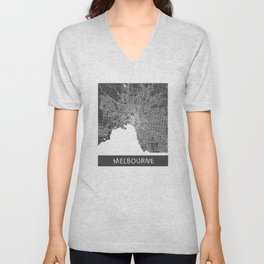 Melbourne map blue Unisex V-Neck