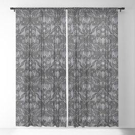 Bats And Beasts - Black and Gray  Sheer Curtain