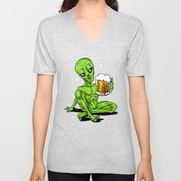 Alien Drinking Beer Space Party Unisex V-Neck