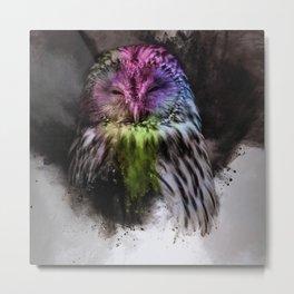 Abstract colorful owl Metal Print
