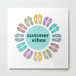 Summer vibes in flip flops Metal Print