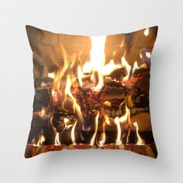 Keeping Warm by the Fire Throw Pillow