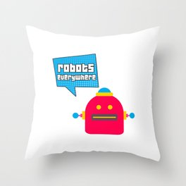 Robots Everywhere Speech Bubble Throw Pillow