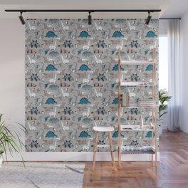 Origami dino friends // grey linen texture blue dinosaurs Wall Mural