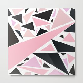 Artistic pink black abstract triangles pattern Metal Print