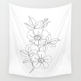 Floral one line drawing - Rose Wall Tapestry