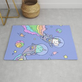 Space Unicorn and Narwhal Rug